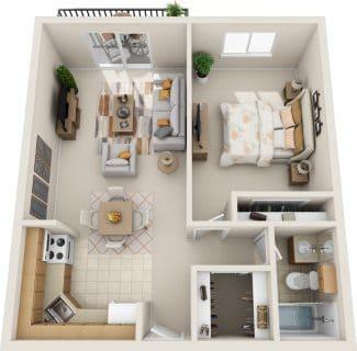 1 Bed / 1 Bath / 620 sq ft / Rent: $1,150