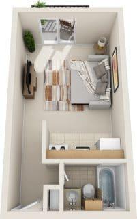 Studio / 1 Bath / 285 sq ft / Rent: $825