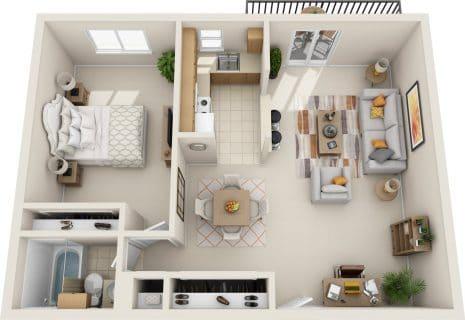 1 Bed / 1 Bath / 655 sq ft / Rent: $1,195