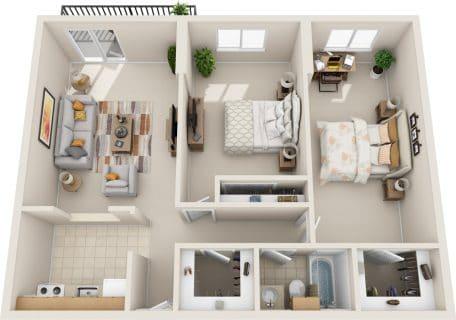 2 Bed / 1 Bath / 895 sq ft / Rent: $1,395